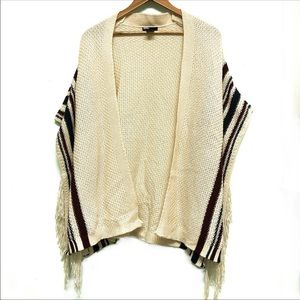 UO BDG. Fringe Cream Stripe Shawl Poncho